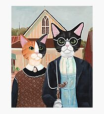 Ameowican Gothic Calico and Tuxedo Cat Photographic Print