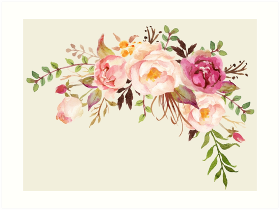Romantic Watercolor Flower Bouquet By Junkydotcom