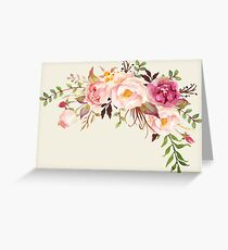 Romantic Watercolor Flower Bouquet Greeting Card