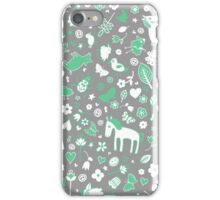 Pigs and Ponies Ditsy - Grey, Mint and White iPhone Case/Skin
