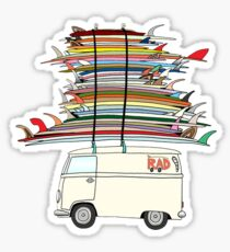VW Bus and surfboards Sticker