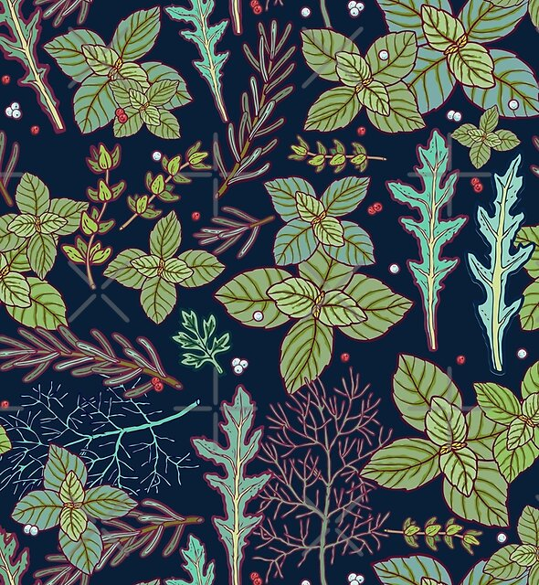 dark herbs pattern by smalldrawing
