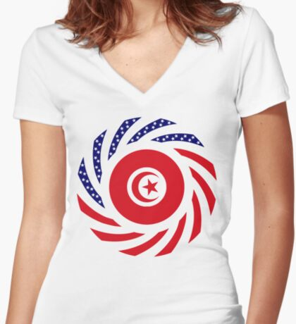 Tunisian American Multinational Patriot Flag Series Fitted V-Neck T-Shirt