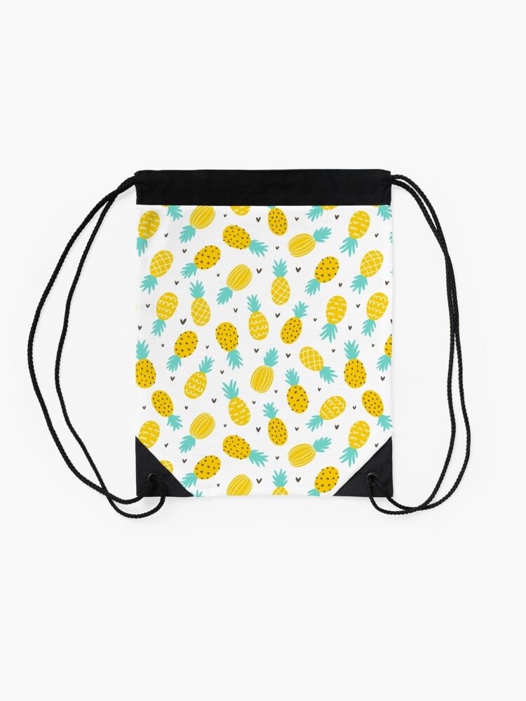 Alternate view of Pineapple and hearts Drawstring Bag