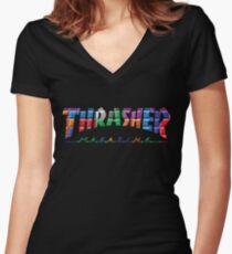 thrasher color block logo Women's Fitted V-Neck T-Shirt