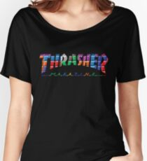 thrasher color block logo Women's Relaxed Fit T-Shirt