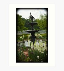 Summer Fountain with White Snapdragons Art Print