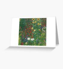 Gustav Klimt - Farm Garden With Flowers - Klimt- Landscape- Garden With Flowers Greeting Card