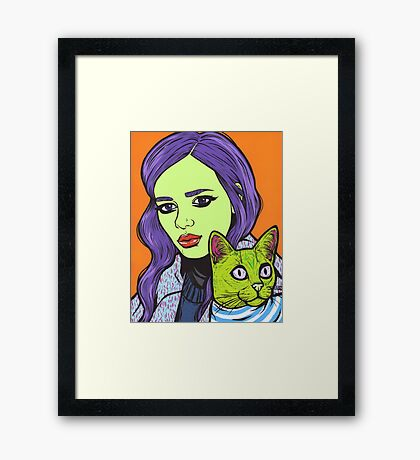 Girl with Cat Framed Print