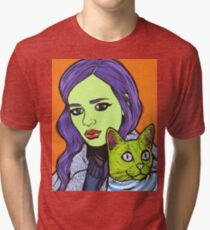 Girl with Cat Tri-blend T-Shirt