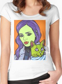 Girl with Cat Women's Fitted Scoop T-Shirt