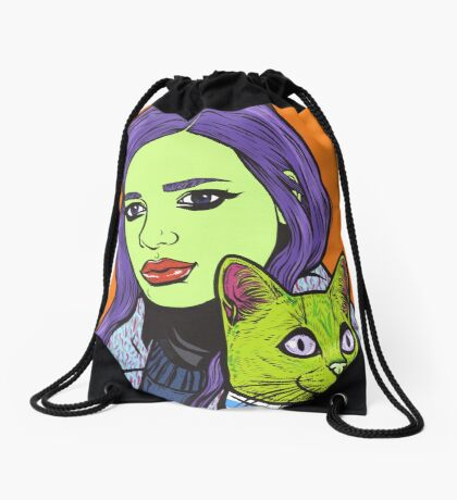 Girl with Cat Drawstring Bag