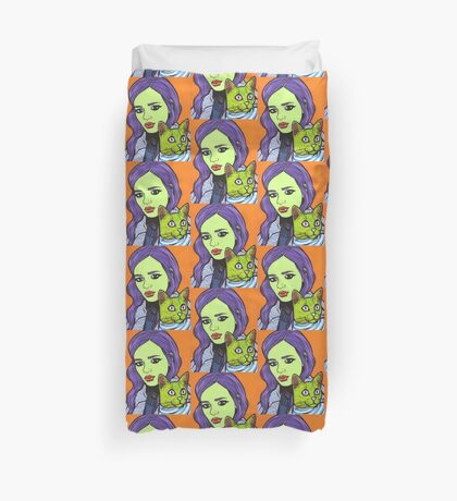 Girl with Cat Duvet Cover
