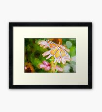Monarch Butterfly on Cone Flower Framed Print