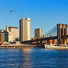 Sailing Under the Brooklyn Bridge - Impressions Of Manhattan by Georgia Mizuleva