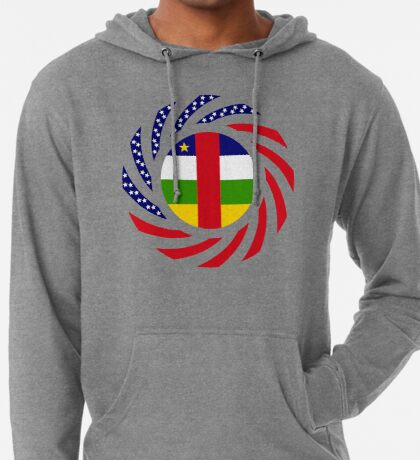 Central African Republic American Multinational Patriot Flag Series Lightweight Hoodie