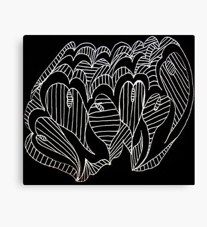 White Lined Hearts Canvas Print