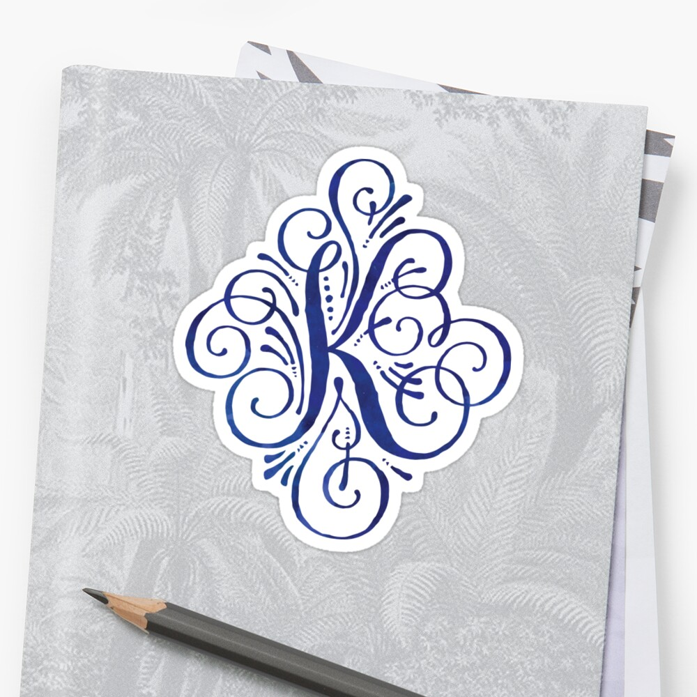 Monogram Watercolor Calligraphy Letter K By Junkydotcom