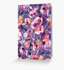 May Afternoon - a watercolor floral in purple and peach Greeting Card