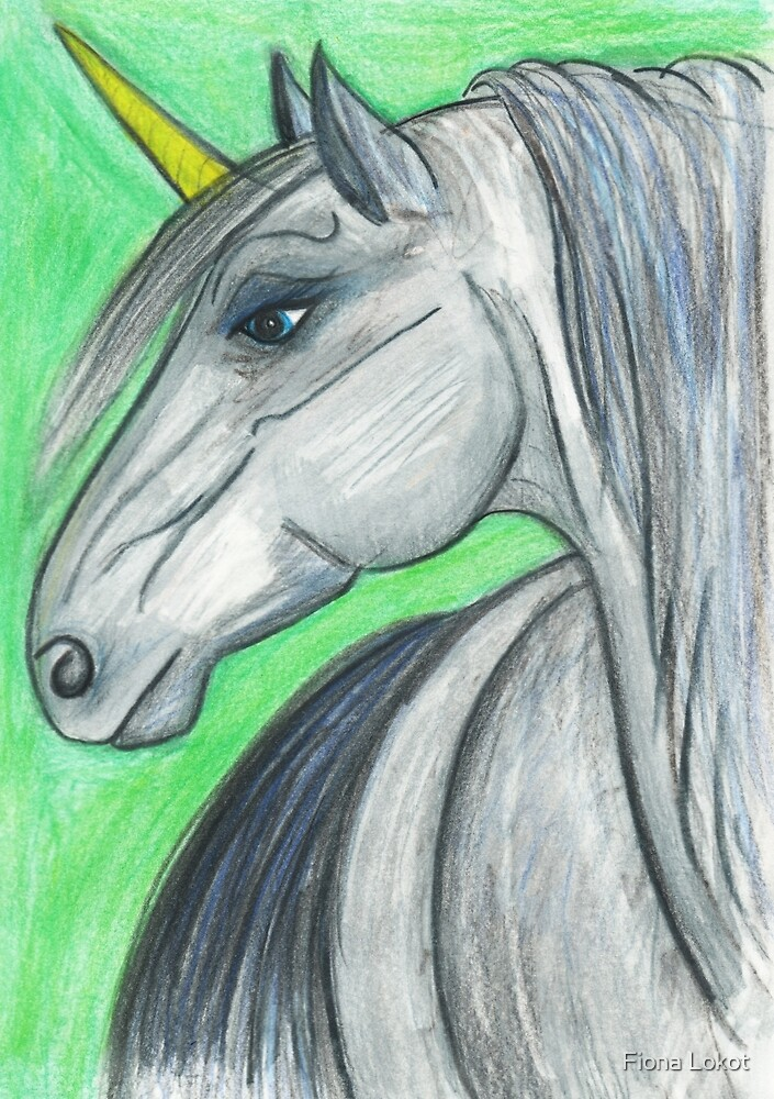 Unicorn On Green by Fiona Lokot