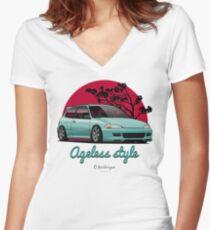 Ageless Style Civic EG (aquamarine) Women's Fitted V-Neck T-Shirt