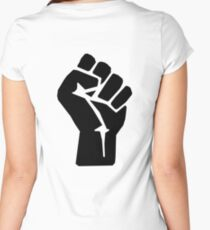FIST, Black, Rebellion, Strength, Power, Grasp, Grab, Hold, Tough, MMA Women's Fitted Scoop T-Shirt
