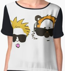 calvin and hobbes sunglasses Chiffon Top