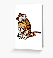calvin and hobbes sleeping Greeting Card