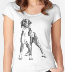 Boxer Dog Drawing Women's Fitted Scoop T-Shirt
