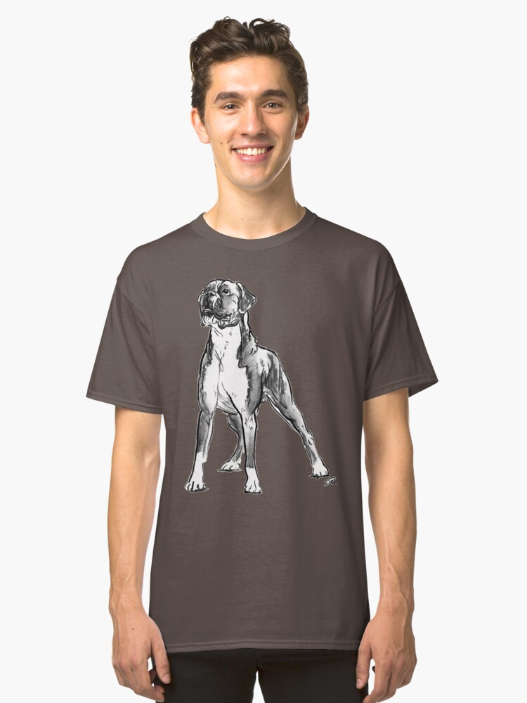 Boxer Dog Drawing Classic T-Shirt Front