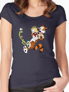 calvin and hobbes shocked Women's Fitted Scoop T-Shirt