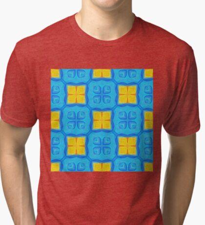 Yellow Blue DeepDream Pattern Tri-blend T-Shirt