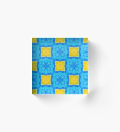 Yellow Blue DeepDream Pattern Acrylic Block