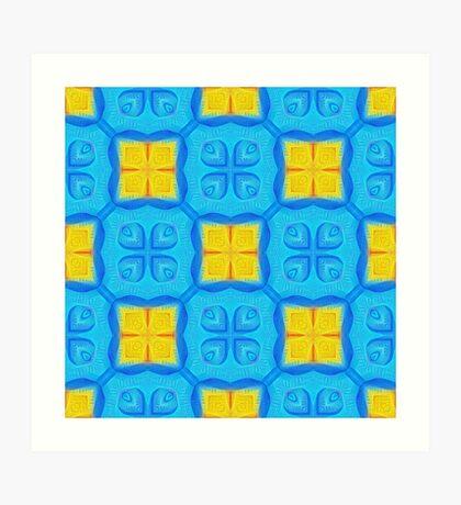 Yellow Blue DeepDream Pattern Art Print