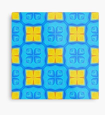 Yellow Blue DeepDream Pattern Metal Print