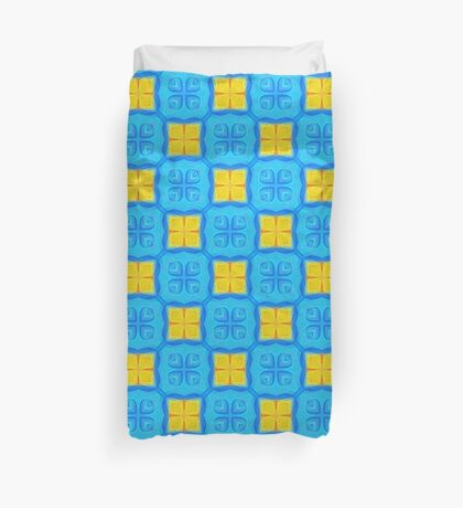 Yellow Blue DeepDream Pattern Duvet Cover