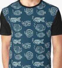 hand drawn fish pattern Graphic T-Shirt