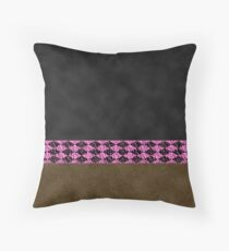 Black and Brown Visual Faux Suede with Crinkled Hot Pink and Black Diamond Harlequin Pattern Band Western Chic Throw Pillow