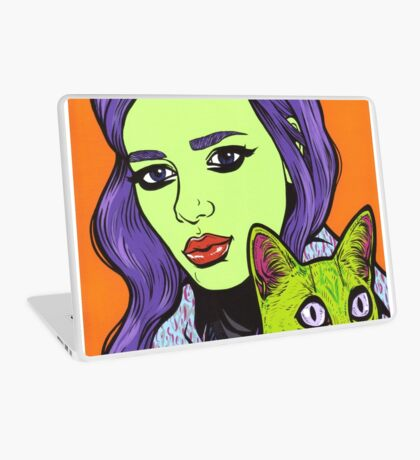 Girl with Cat Laptop Skin