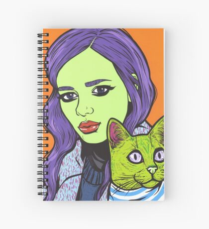 Girl with Cat Spiral Notebook