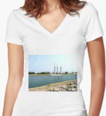 Tree masts sailing ship Women's Fitted V-Neck T-Shirt
