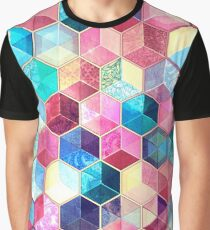 Topaz & Ruby Crystal Honeycomb Cubes Graphic T-Shirt