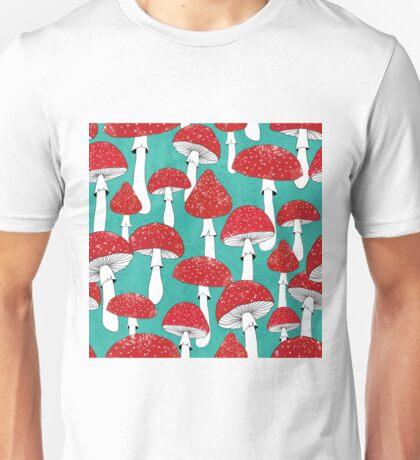 Red mushrooms on turquoise blue Unisex T-Shirt