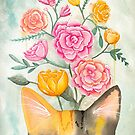 Peeking Cat and Peonies by Ryan Conners