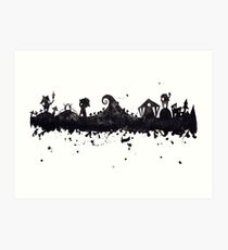 Halloween Town Nightmare Before Christmas Inspired Watercolor Skyline Art Print