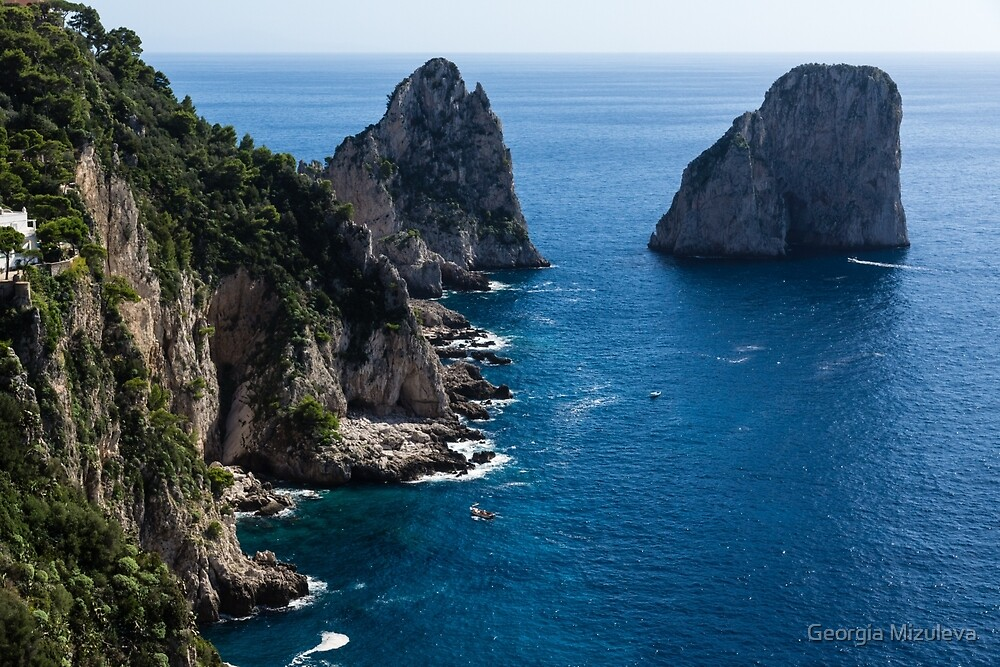Limestone Cliffs and Seastacks - a Capri Island Vacation by Georgia Mizuleva