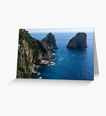 Limestone Cliffs and Seastacks - a Capri Island Vacation Greeting Card