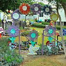 A Tin Flower and Chook Entrance by Penny Smith