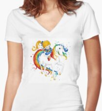 Watercolor Rainbow Brite Women's Fitted V-Neck T-Shirt