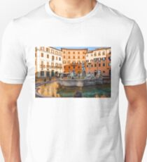 Neptune Fountain on Piazza Navona - Impressions Of Rome Unisex T-Shirt